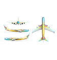 colorful airliners realistic set vector image vector image