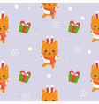cute kitten winter theme editable line vector image vector image