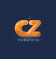cz letter with origami triangles logo creative vector image vector image