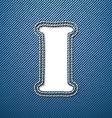 Denim jeans letter I