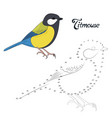 Educational game connect the dots to draw bird vector image vector image