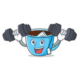 fitness tea cup character cartoon vector image
