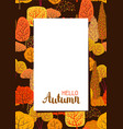 frame with autumn stylized trees vector image