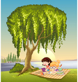 girls and tree vector image