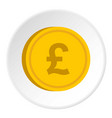 gold coin with pound sign icon circle vector image