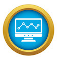 graph in computer screen icon blue isolated vector image vector image