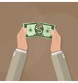 Hands tearing apart money bill in half vector image vector image