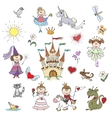 Happy little princesses sketches vector image vector image
