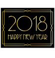 happy new year in gold art deco frame vector image
