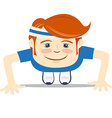 Hipster funny doing push-ups Flat style vector image vector image