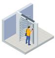 isometric full height turnstile security system