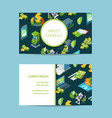 isometric money in bank business card vector image vector image