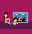 kids playing video games design vector image vector image