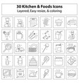 kitchen and foods icons vector image vector image