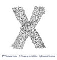 letter x symbol of white leaves vector image vector image