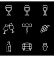 line wine icon set vector image vector image