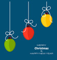 merry christmas and happy new year blue background vector image