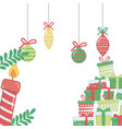 merry christmas gifts and candle design vector image vector image