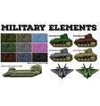 Military theme with tiles and tanks vector image vector image