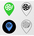 movie map marker eps icon with contour vector image