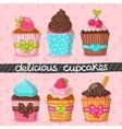 Muffin set Cupcake set vector image vector image