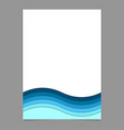 page template from blue wavy striped layers vector image vector image