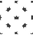 prince crown pattern seamless black vector image vector image