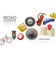 realistic road elements collection vector image