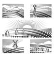 Retro rural landscapes vector image vector image