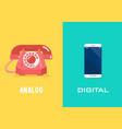 retro telephone in analog age and smartphone in vector image