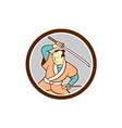 Samurai Warrior Katana Sword Circle Cartoon vector image vector image