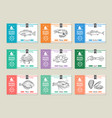 seafood labels design template with hand drawn vector image vector image