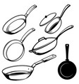 set cooking pans in engraving style design vector image