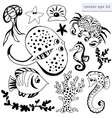 set of outlined sea creatures vector image vector image