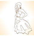 silhouette of beautiful woman in dress vector image vector image