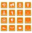 sport equipment icons set orange vector image vector image