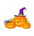 three hallowing jack o lanterns pumpkins in vector image vector image