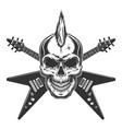vintage punk rock star skull vector image