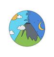 Volcano doodle icon