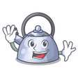 waving steel whistling kettle character to make vector image vector image