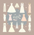 wedding dresses set bride and bridesmaid vector image