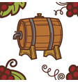 winery wine barrel with tap grapes seamless vector image vector image