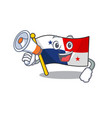 with megaphone panama flag hoisted on mascot pole vector image vector image
