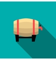 Wooden beer barrel icon flat style vector image vector image