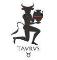 zodiac in the style of ancient greece taurus vector image