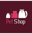 Cat sign for pet shop logo kitten and kitty vector image