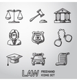 Law justice freehand icons set vector image