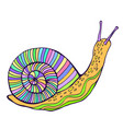 funny fantasy snail pastel color vintage style vector image