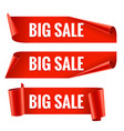 sale banner realistic red glossy paper ribbon vector image