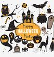 Set Of Vintage Happy Halloween flat icons vector image